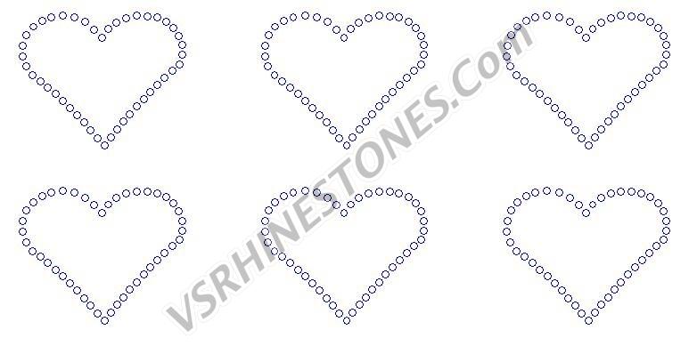 Heart Outline Mini (6) Rhinestone Transfer
